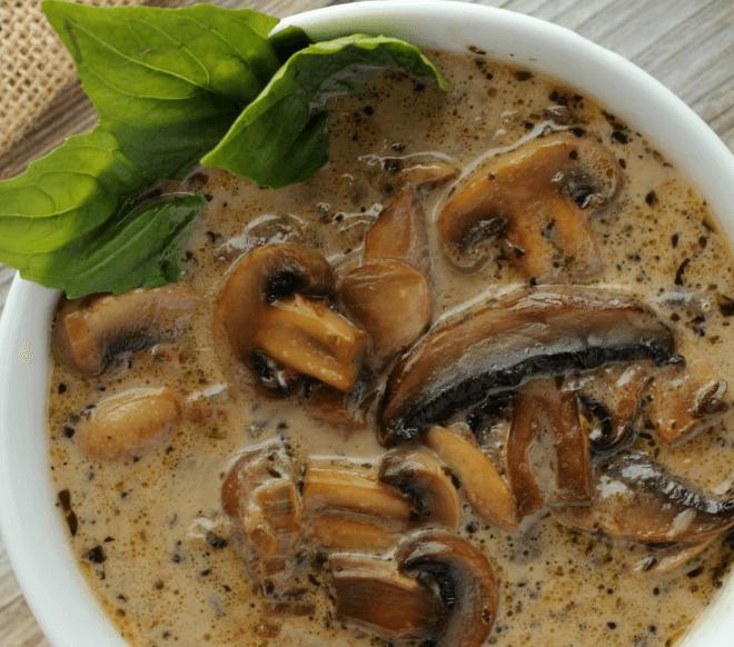 sopa de champiñones vegana sin gluten